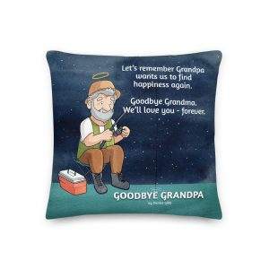 Cushion featuring the front cover of the book Goodbye Grandpa