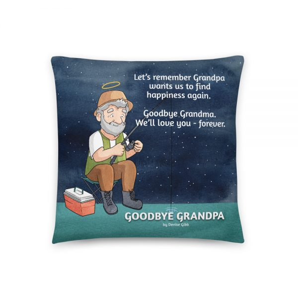 Cushion featuring the front cover of the book Goodbye Grandpa.