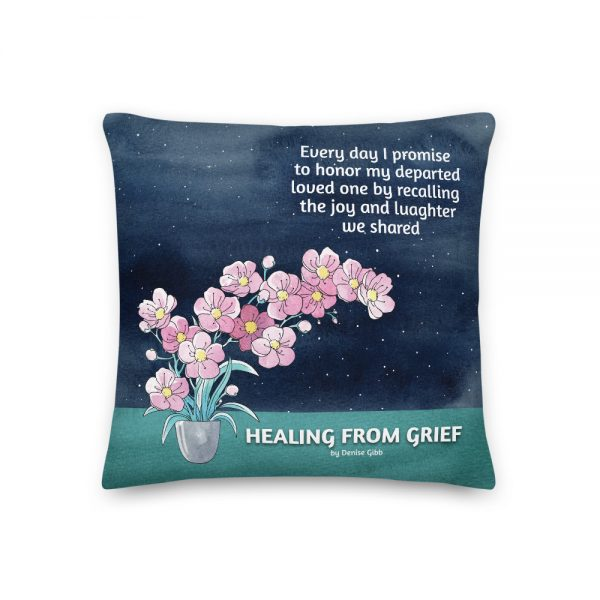 Pillow featuring the front cover of the book Healing From Grief.