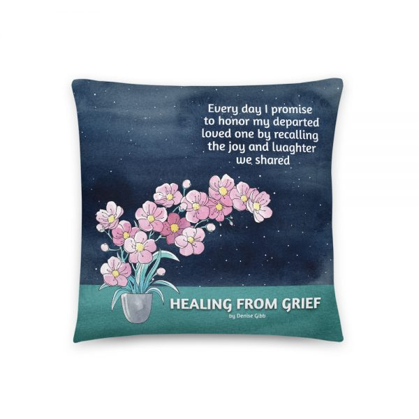 Basic Pillow featuring the front cover of the book Healing From Grief.