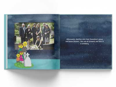 Inside pages of Goodbye Grandma showing a funeral at a cemetery.